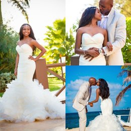 Discount muslim beach wedding dresses - Classy Mermaid Beach Wedding Dresses South African Tiered Ruffles Plus Size Country Trumpet Bridal Gowns Vintage vestido