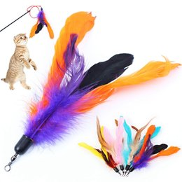 Rod toys online shopping - Cat Fishing Rod Replacement Head Toys Feathers Telescopic Rope Tease Kitten Durable Steel Bar Pet Interaction Plaything Wand AAA2010