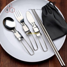 fork knife chopsticks NZ - free shipping Camping tour folding portable cutlery bag outdoor supplies stainless steel chopsticks spoon fork knife five pieces set