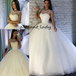 $enCountryForm.capitalKeyWord Australia - 2019 Sparkling Robe De Mariee Sheer Jewel Neckline Ball Gown Wedding Dresses Luxury Arabic Dubai cathedral train Bridal Gowns