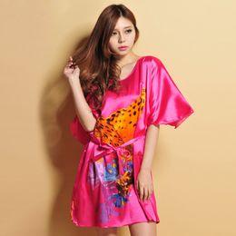 Red lingeRie mini dRess online shopping - Casual print Sleepwear Dress Nightdress Loose Silk Nightgown Lingerie Short Sleeve mini Summer Sleep Wear