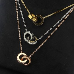 Twisted Ring Pendants NZ - 2019 Wholesale Gold Plated Double Rings Pendant Necklace Choker 316L Stainless Steel Two Circle Rings Necklace Jewelry For Women