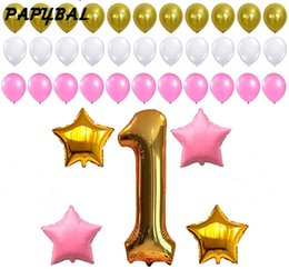 $enCountryForm.capitalKeyWord Australia - 1st Birthday Decoration Pink White Gold Balloons for 1st Baby Girl or Boy Number One 1 Latex Balloons Birthday Party Supplies