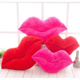 $enCountryForm.capitalKeyWord NZ - 30cm Creative Pink Red Lips Shape Cushion Home Decorative Throw Pillow Sofa Waist Cushion Home Textile