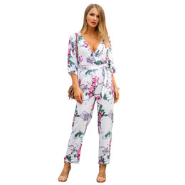 Women S Cotton Jumpsuits Australia - Ladies Printed Rompers Pure Cotton 3 4 Sleeve Lace Up Sexy Clothing Fashionable S-XL Flower Printed Women Causal Jumpsuits