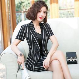 Female Office Suits Australia - Classic stripes blazer skirt suit female 2019 office uniform designs women business suit frock short sleeve jacket skirt suits