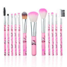 $enCountryForm.capitalKeyWord Australia - 12 Pcs Cute Cartoon Hello Kitty Makeup Brush Set,Makeup Foundation Powder Blush Eyebrow Eyeliner Cosmetic Brushes for Women Girls Children