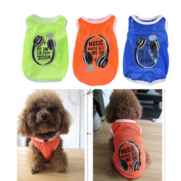 $enCountryForm.capitalKeyWord Australia - Breathable Mesh Vest Dog Cat Clothes Spring Summer Mesh Shirt Dogs Shirts Letter Printed Music Makes Me High Pet Puppy Costumes 6.5
