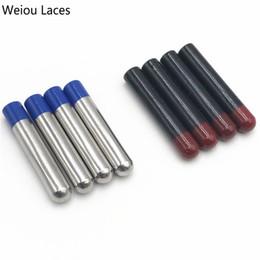 Metal Sneakers NZ - Weiou 4pcs 1Set 4x22mm Silver-blue Seamless Painted Metal Tips Replacement Repair Bullet Head Shoelace Aglets DIY Sneaker Kits