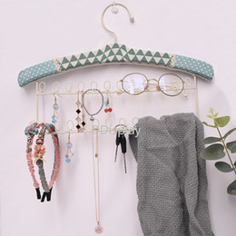 Linen Jewelry Necklace Display Australia - [DDisplay]Creative Jewelry Display Linen Green Wall Hanging Necklace Jewelry Rack Earring Iron Stands Bracelet Lovely Storage Racks