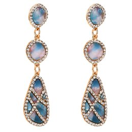 Plate Australia - EH8681 Women's Earring Fashion Alloy Big Name Geometric Acetate Plated Diamond Earrings Best Selling Bohemian 6 Colors 8.9cm+2.2cm 32g