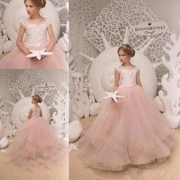 29977048eb0 Blush Pink Flower Girl Dresses Lace For Church Weddings Princess Ball Gown  Crew Neck Cap Sleeves Ruffles Tiered Long Girls Pageant Gowns
