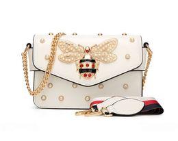 Bee Pendants Australia - Gem Little Bee Womens Messenger Bag Brand Desinger Pendant lady leather Clutch handbag luxury series handbags women bags designer