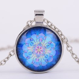 $enCountryForm.capitalKeyWord Australia - India Flower Mandala Glass Cabochon Necklace Yoga Flower Time Gemstone Pendants Fashion Jewelry for Women Drop Ship