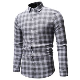 type shirt collars NZ - Crossborder ECommerce Explosion for the New Type of Mens Casual Chequered Collar Mens Long Sleeve Shirt ML51