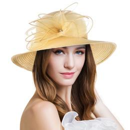 Hats For Wedding Black Australia - Women's Wide Brim Sun Hat Nice Solid Floral Kentucky Derby Hat for Women Lady Church Wedding Hat Floppy Summer Beach Cap A323