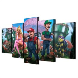 spray painting games Australia - Cartoon Super Mario Game,5 PiecesHome Decor HD Printed Modern Art Painting on Canvas (Unframed Framed)