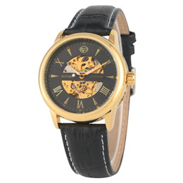 $enCountryForm.capitalKeyWord Australia - Classic Automatic Mechanical Watch for Men Soft Leather Band with Pin Buckle Wristwatch Practical Hollow Out Roman Numerals Dial Watches