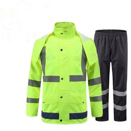 Toptan satış floresan kadın Yağmurluk pantolon ceket takımları Geçirimsiz Kadınlar erkekler Kapşonlu açık Panço ışık yansıması Yürüyüş Balıkçılık Yağmur Gear büyük seçmek