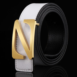 belt slide letters Canada - Designer High Quality Cowskin Smooth Buckle Belts Cowhide Male Letter Slide Buckle Luxury Leather Genuine Belt For Dress