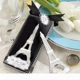 bottle boxes packaging Canada - B Free shipping creative novelty items the eiffel tower bottle opener wedding favors gift box packaging W7573