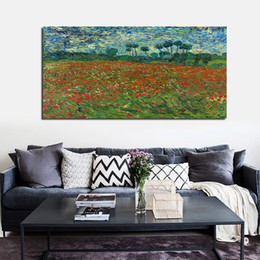 field paint Canada - 1 Piece Field With Red Flower Wall Art Poster Modular Canvas HD Prints Paintings Pictures Home Decor Painting On Canvas