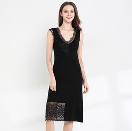 b38f7aae67 2019 Women s Dresses New Summer Blockbuster Dresses Lace splicing sexy  Sleeveless Knitted skirt waistcoat skirt Medium length fund
