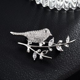 8dba2e720 wholesale Mirco Pave CZ Zircon Pins and Brooches for Women Birds Crystal  Animal Brooch wedding dress fashion jewelry DROPSHIPPING