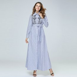 Striped Maxi Dress Blue White Australia - Shirt Dresses Women Spring Autumn Long Sleeve White Blue Striped Printed embroidery Button Casual Casual Party Middle East Maxi Dress