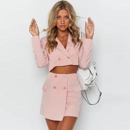 Ladies Work Uniforms Australia - Women Working Suits Hot Sale Cotton Ladies Office Uniform Two Piece Set 2019 New Women's Slim Small Suit Skirt Summer Two-piece