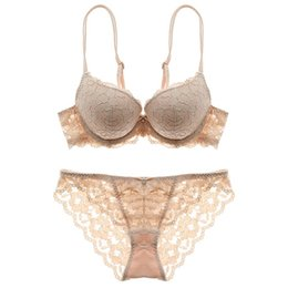 $enCountryForm.capitalKeyWord UK - Sexy flowers lace embroidery New thin thick double shoulder strap bra set deep V-neck thickening women's push up underwear