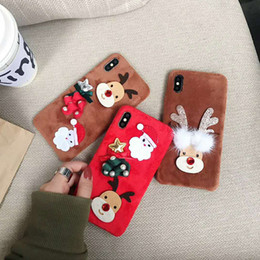 Discount iphone santa - Plush Christmas Case 3D Cartton Santa Claus Fluffy Fur Warm Phone Case Smooth Furry TPU Back Cover for iPhone X 8 7 Plus
