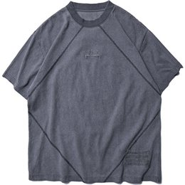 Old Khaki UK - tide brand fashion Men tshirt Summer New Serial Heavy tshirts Water Wash Old women t-shirt High Quality Mens Loose T-shirts cotton loose tee