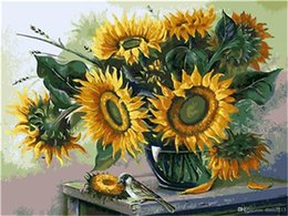 Paintings Vases Australia - DIY Acrylic Painting by Numbers Kit on Canvas for Adults Beginner Blooming Young Sunflowers in Vase 16x20 Inch
