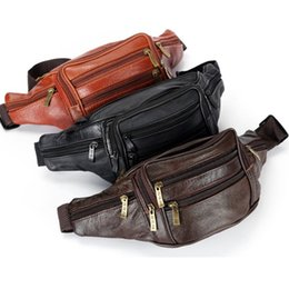 Leather sLing packs online shopping - Leather waist bag leather bag Fanny pack sports bag casual fashion single shoulder slung trend waistpacks pockets ZZA856