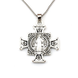 michael pendant Australia - 25pcs  lots Europe and America Quis Et Dues Michael Cross Medal Religious Pendant Necklaces 23.6inches 34x44.5mm Pendant A-517d