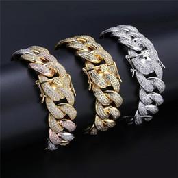 $enCountryForm.capitalKeyWord Australia - 18mm Hip Hop Silver Diamond Bracelet For Men 2019 New Brand Designer Jewelry 18K Gold Chain Bracelets Cubic Zirconia Miami Cuba Link Chain.