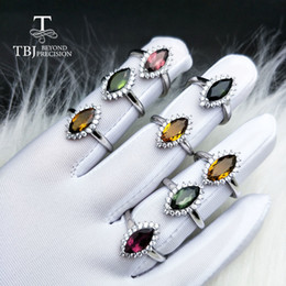 multi tourmaline NZ - TBJ,Natural multi tourmaline 1.25ct gemstone Ring 925 sterling silver fine jewelry for women nice gift special price SH190930