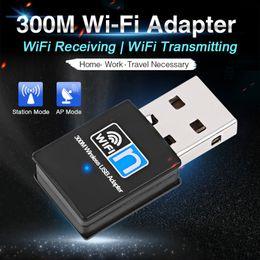 Toptan satış Taşınabilir Mini USB WiFi Dongle Adaptörü 2.4G Kablosuz WiFi Alıcı Extenal Ağ Kartı Win 7/8/10 Mac OS Linux için 300 Mbps
