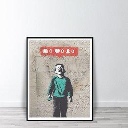 Toptan satış Graffiti Bansky duvar sanatı posterler ve baskılar görüntüleri en çok ağlayan çocuk sanat baskı tuval boyama seviyor