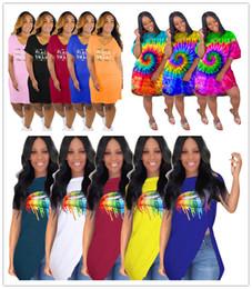 $enCountryForm.capitalKeyWord Australia - Black Smart V-Neck Women Dress Tie-dye Irregular Skirts Summer Big Lips Printed Designer Hem Irregular T shirt Sexy Nightclub Clothes C73102