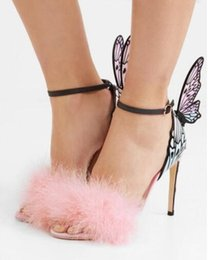 f435e515cd7f12 Sophia Webster Pink fur sandals Wedding Party Shoes 10 cm Butterfly wings  Heels dress Sandals gladiator ankle strap High Heels women