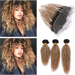 $enCountryForm.capitalKeyWord Australia - Kinky Curly Malaysian Virgin Human Hair Honey Blonde Ombre Weaves with Frontal Closure #1B 27 Blonde Ombre 13x4 Lace Frontal with Weaves