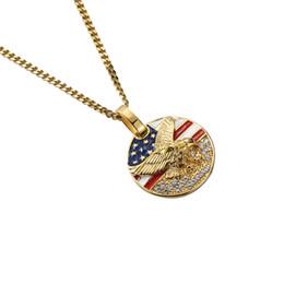 $enCountryForm.capitalKeyWord Australia - Hip Hop Stainless Steel Men Necklace Crystal Eagle US Flag Pendant Necklace Gold Round Coin Pendant Chirstmas Gift Patriotic Souvenir