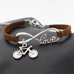 dark cycles NZ - Fashion Infinity Love Cute Bike Cycling Bicycle Charm Bracelets & Bangles For Women Men Boho Vintage Dark Brown Leather Suede Party Jewelry