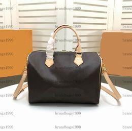 Großhandel 35CM 30CM 25CM 20CM Klassische Mode-Beutel-Frauen reisen Tasche aus echtem Leder Trim Gepäck Seesack Segeltuch Handtasche 40391