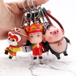 Discount girl sun glass cartoon Popular cartoon Zhu Bajie Pig key chain Accessories Enamel Sun Wukong Tang Monk bag pendant Factory Wholesale
