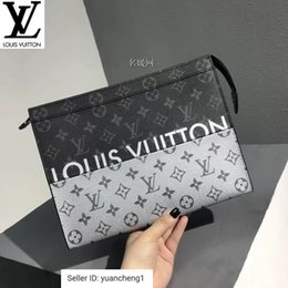 Spelling toyS online shopping - Black And Gray Spelled Silver Pochette Voyage Clutch M63039 Long Wallet Chain Wallets Compact Purse Clutches Evening Key