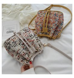 $enCountryForm.capitalKeyWord Australia - Fashion Bucket Bag PU Weave Patchwork Mini Women Handbag Cross Body Multi Color Drawstring Casual Bags Wholesale