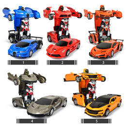 remote control cars children NZ - 2In1 Transformation Sports Vehicle Remote Control Cars Model Racing Toys Deformation Car RC Robots Children Gifts Y200414